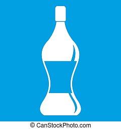 Soda water icon white isolated on blue background...