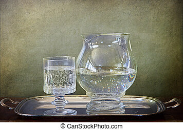 Soda Water jug and glass on silver tray