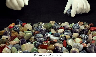 Sodalite stones line - From mixed semiprecious stones in...