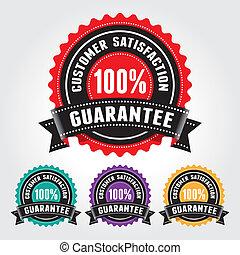 soddisfazione cliente, garanzia, distintivo, segno