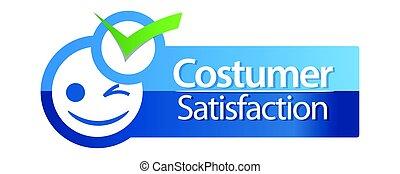 soddisfazione cliente, orizzontale, blu