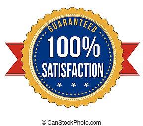 soddisfazione, distintivo, cento, guaranteed, percento