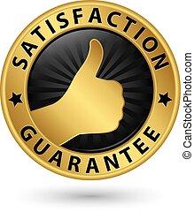 soddisfazione, garanzia, dorato, segno, vettore, illustrazione