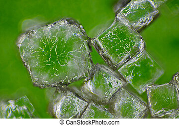 Microscopic view of a sodium chloride crystals. Rheinberg illumination.