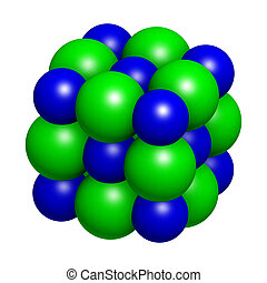 Sodium chloride (rock salt, halite, table salt), crystal structure. Atoms shown as color-coded spheres (Na, blue; Cl, green).