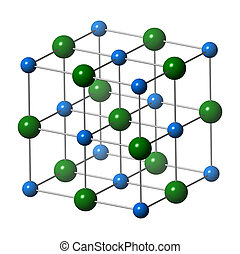 Sodium chloride (rock salt, halite, table salt), crystal structure. Atoms shown as color-coded spheres (Na, blue; Cl, green). Unit cell.