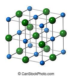 Sodium chloride (rock salt, halite, table salt), crystal...