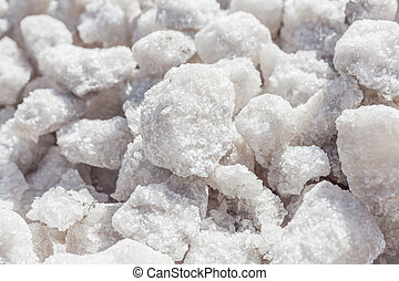 Salt crystals close-up commercial production