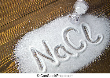 Sodium Chloride Salt Nacl Written On A Heap Of Salt