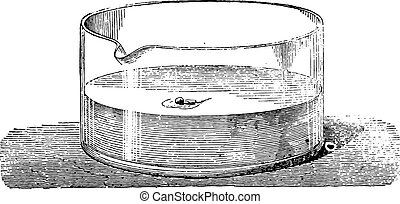 Sodium combustion in water, vintage engraving.