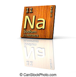 Sodium form Periodic Table of Elements - wood board