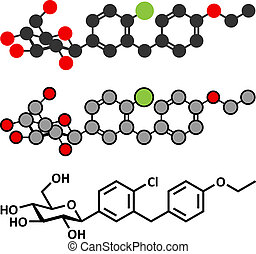 sodium-glucose, (sglt2)., molecule., proteínas, droga, subtype, 2, diabetes, inhibitor, transporte, dapagliflozin