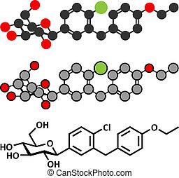 sodium-glucose, (sglt2)., molecule., proteiner, drog, subtype, 2, sockersjuka, inhibitor, transport, dapagliflozin