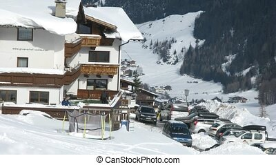 Hotel Gruenerhof stands in valley on mountain slope shined...