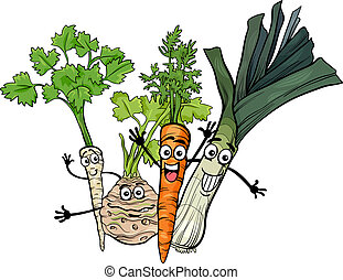 soep, groentes, groep, spotprent, illustratie