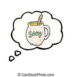 soep, over, spotprent, dromen