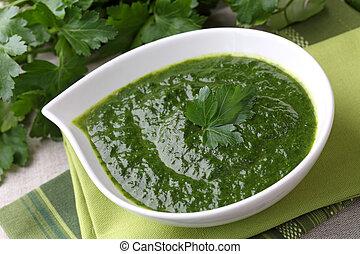 soep, spinazie, room