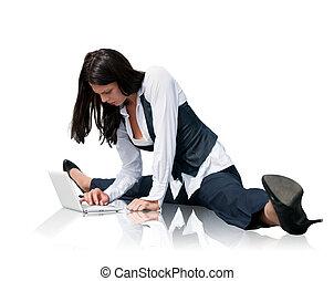 soepel, draagbare computer, vrouw zaak