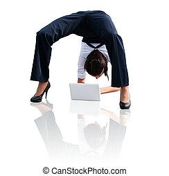 soepel, draagbare computer, vrouw, -, zakelijk