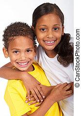 soeur, américain africain, frère