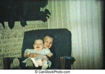 soeur, chaise, balancer, frère