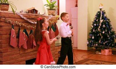 soeur, chanson, danse, microphone, frère, chanter