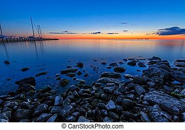 soeur, coucher soleil, baie