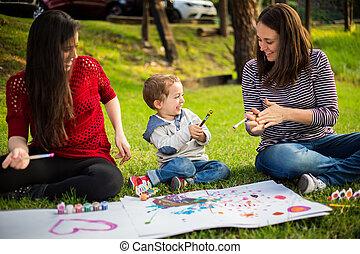 soeur, enfant, parc, fils, tante, mère, peinture, heureux