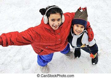 soeur, frère, ensemble, neige