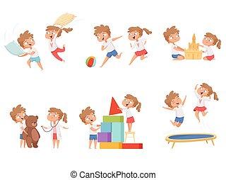 soeur, gosses, amusement, jouer, vecteur, games., oreiller, bataille, enfants, ensemble, frère, dessin animé, caractères