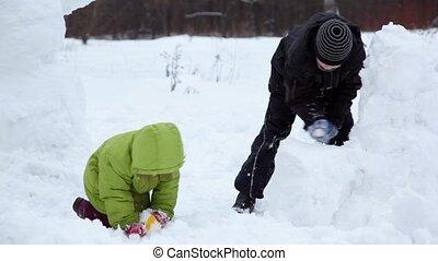 soeur, hiver, neige, parc, jeu, frère