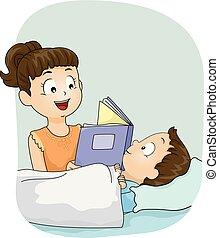 soeur, illustration, livre, dorlotez fille, gosse