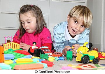 soeur, jouer, frère, jouets