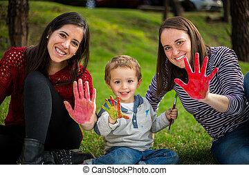 soeur, mère, peint, projection, mains, fils, tante, enfant,...