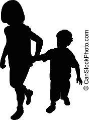 soeur, marche, frère, ensemble