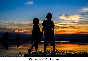 soeur, soleil, set., frère, ensemble, tenant mains