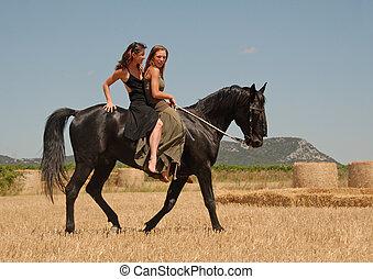 soeurs, équitation