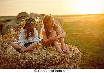 soeurs, agréable, meules foin, sourire