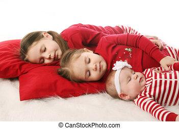 soeurs, attente, noël, dormir