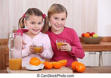 soeurs, deux, jus, orange, boire, cuisine