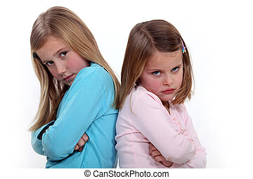 soeurs, discuter, deux