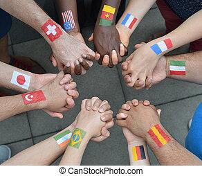 soeurs, drapeaux internationaux, frères