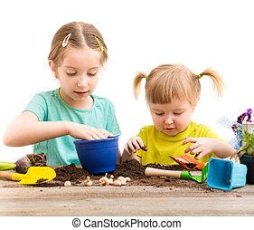 soeurs, engagé, peu, jardinage, deux