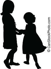 soeurs, jouer, heureux