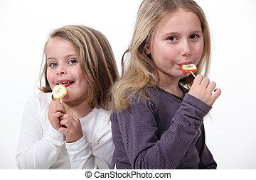 soeurs, lollipops., manger, deux