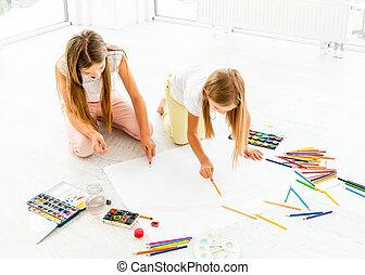 soeurs, peu, dessine, deux, plancher