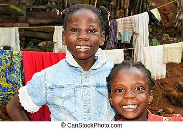 soeurs, portrait, franc, noir, africaine