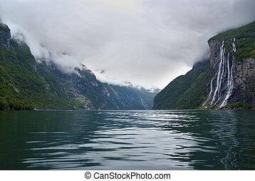 soeurs, sept, chute eau, norvège