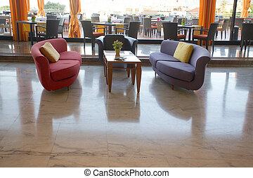 sofà, albergo, selezione, atrio