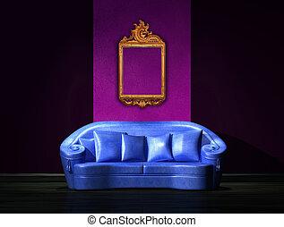 sofà blu, con, anticaglia, cornice, su, parete, in, minimalista, interno